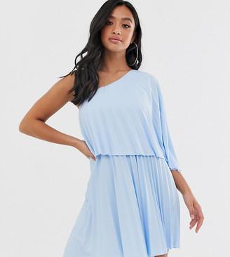 ASOS DESIGN Petite one shoulder pleated crop top mini dress