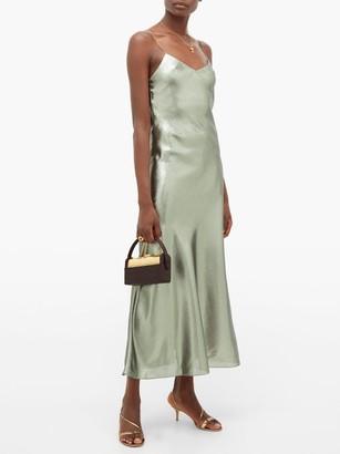 BLAZÉ MILANO Manipur Metallic Silk-blend Slip Dress - Green