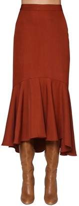 Johanna Ortiz Flared Viscose Drilled Midi Skirt