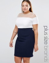 Koko Plus Color Block Dress With Daisy Trim And Mesh Top