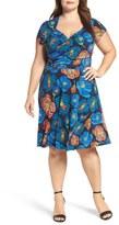 Leota Faux Wrap Jersey Dress (Plus Size)