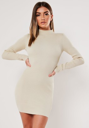 Missguided Stone High Neck Rib Knitted Mini Dress