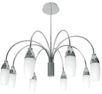 TP24 Low Energy Kathmandu 8 Arm Pendant Light Fitting in Satin Silver with White Tulip Glass