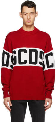GCDS Red and White Logo Sweater