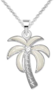 """Kona Bay Crystal & Enamel Palm Tree Pendant Necklace in Fine Silver-Plate, 16"""" + 2"""" extender"""