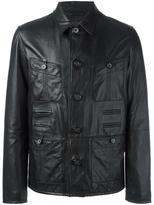 Lanvin grained effect leather jacket - men - Viscose/Lamb Skin/Cotton/Polyester - 48