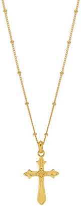 Northskull Baroque Cross Beaded Necklace In Gold