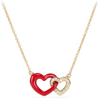 David Yurman Double Heart Pendant Necklace with Red Enamel and 18K Gold