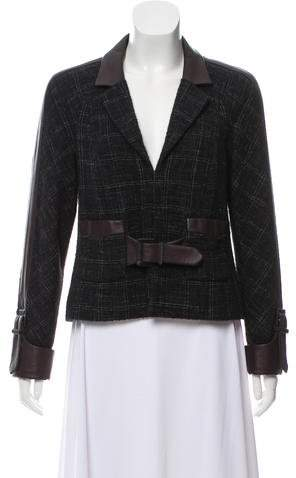 Chanel Leather-Trimmed Wool Jacket
