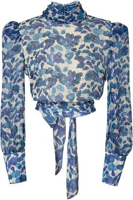 Adriana Degreas Cropped Silk Chiffon Blouse