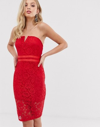 AX Paris strapless lace bodycon dress-Red
