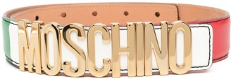 Moschino Colour-Block Logo Plaque Belt