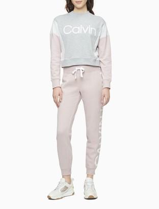 Calvin Klein Performance Colorblock Logo Mock Neck Cropped Sweatshirt