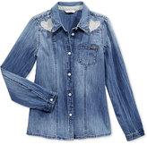 GUESS Button Front Denim Shirt, Big Girls (7-16)