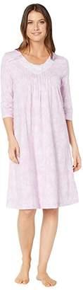 Carole Hochman Soft Jersey 3/4 Sleeve Waltz Gown (Lilac Toile) Women's Pajama