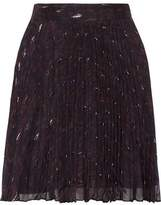 Haute Hippie Goodnight Pleated Metallic Printed Silk-Blend Georgette Mini Skirt