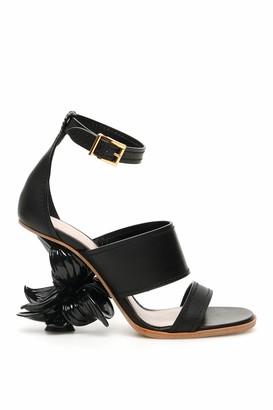 Alexander McQueen FLOWER WEDGE SANDALS N.13 37 Black Leather
