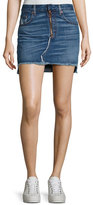 Rag & Bone O-Ring Denim Mini Skirt with Staggered Raw Hem, Otto