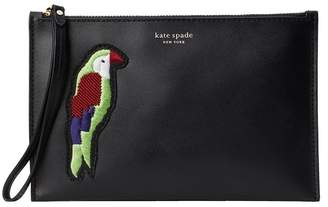 Kate Spade Embroidered Small Leather Wristlet