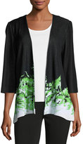 Ming Wang 3/4-Sleeve Open-Front Knit Jacket, Black/Green