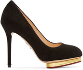 Charlotte Olympia Black Suede Dotty Heels