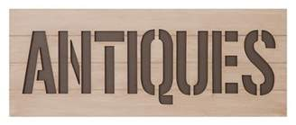 """Patton Wall Decor 16""""x40"""" Rustic Antiques Sign Wood Cut Out Wall Decor White"""
