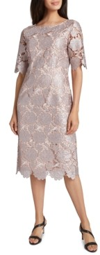 Tahari ASL Elbow Sleeve Lace Sheath Dress