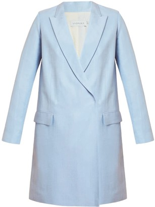 Undress Namya Light Blue Double Breasted Linen Blazer Dress