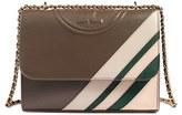 Tory Burch 'Fleming Stripe' Convertible Crossbody Bag - Grey