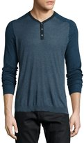 John Varvatos Raglan-Sleeve Knit Henley Shirt, Blue