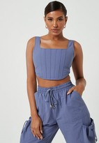 Missguided Blue Co Ord Corset Crop Top