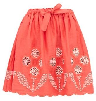 Innika Choo Terre Belle Broderie-anglaise Linen Mini Skirt - Womens - Red