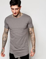 Lindbergh T-Shirt with Asymmetric Front In Gray