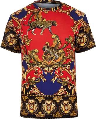River Island Mens Jaded Black baroque print T-shirt