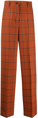 Pt01 Checked Wide Leg Tailored Trousers
