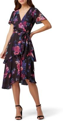 Tahari Floral Short Sleeve Chiffon Midi Dress