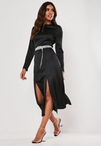 Missguided Black Satin Double Split Midi Dress