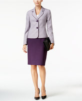 Le Suit Tweed Colorblocked Two-Button Skirt Suit
