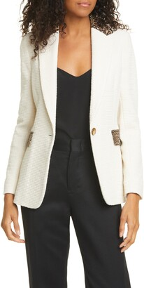 Helene Berman Carine Leopard Contrast Tweed Blazer