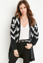 Forever 21 FOREVER 21+ Chevron-Patterned Fuzzy Cardigan