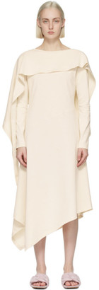 J.W.Anderson Off-White Draped Asymmetric Dress
