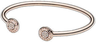 Pandora Rose 14K Rose Gold Plated Cz Logo Open Pave Bangle