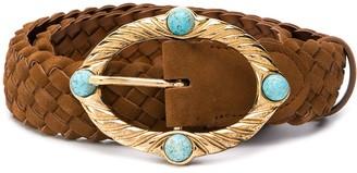Alberta Ferretti Stoned-Buckle Braided Belt