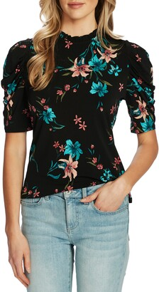 CeCe Expressive Lillies Puff Sleeve Top