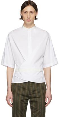 Haider Ackermann White and Off-White Silk Wrap Belt Shirt
