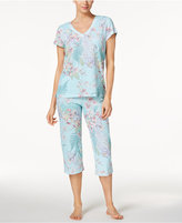 Miss Elaine V-Neck Top and Capri Pants Printed Knit Pajama Set