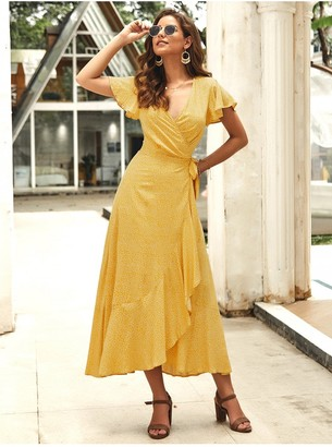 FS Collection Bohemian Style Wrap Maxi Dress In Yellow Floral Print
