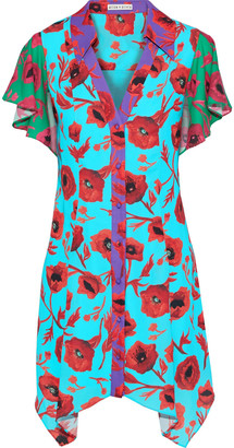 Alice + Olivia Conner Floral-print Color-block Washed-crepe Mini Dress