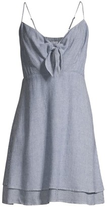 Rails August Stripe Tiered Hem Chambray Midi Dress