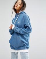 Obey Half Zip Overhead Denim Jacket With Hood